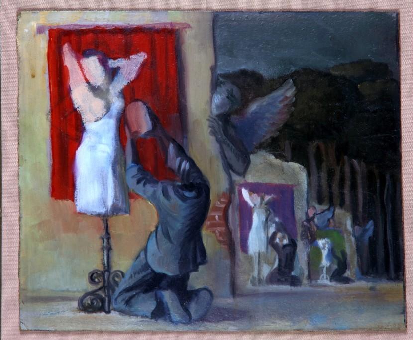 Gabriel Fernández Ledesma. Hombres arrodillados frente a maniquíes femeninos.